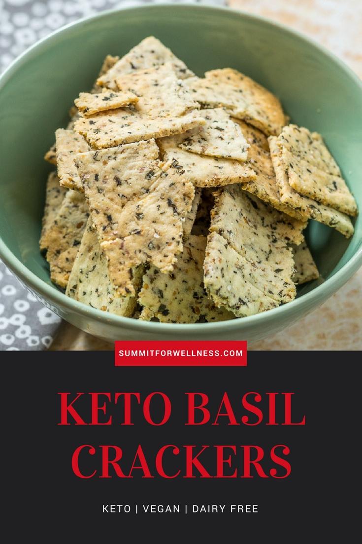Enjoy this easy 4 ingredient Keto Basil Crackers recipe that is gluten free, dairy free, keto, and vegan