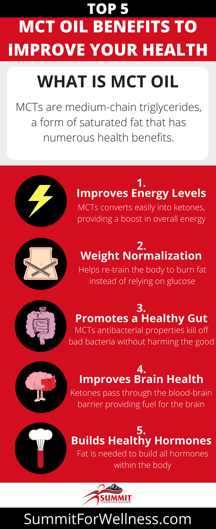 Learn what the Top 5 MCT Oil Benefits are and how to use it.