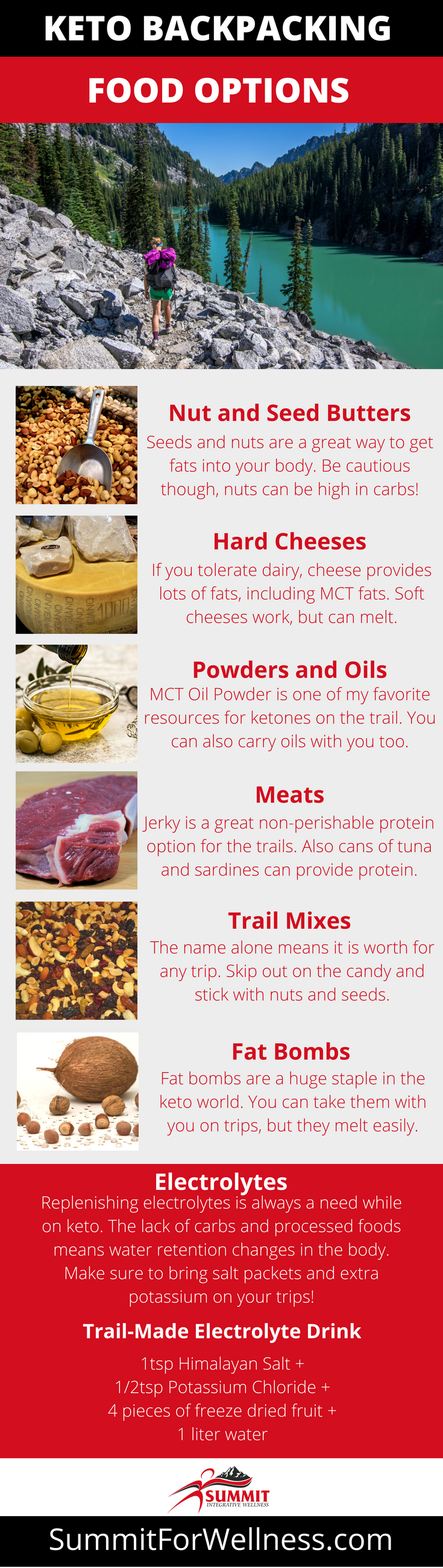 These easy and simple options are great for keto backpacking food and meals!