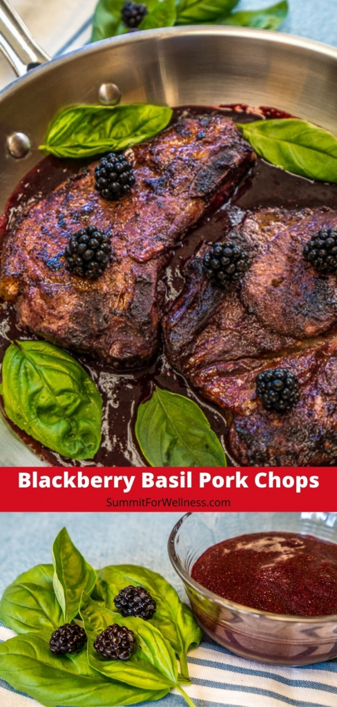 These Blackberry Basil Pork Chops are the perfect way to make sweet and savory styled pork chops!