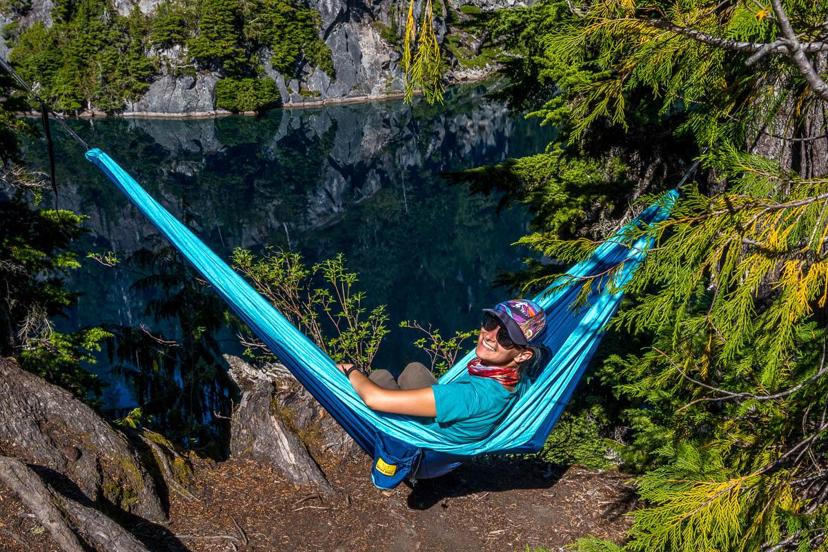 Enjoying the hammock at Big Heart Lake