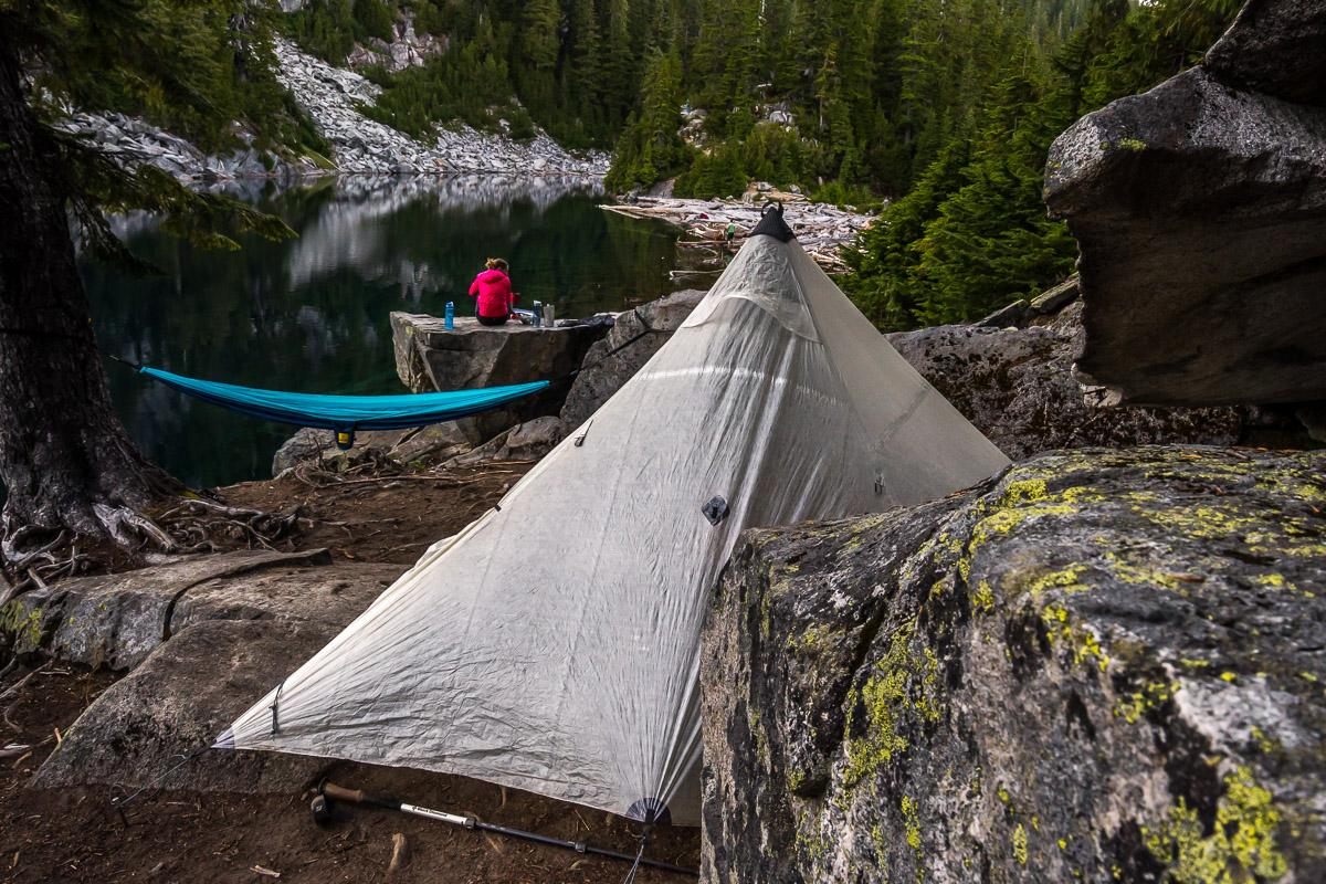 Finding a nice hidden established campsite at Big Heart Lake