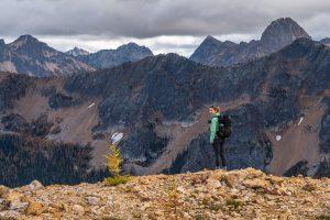 Sarah Carroll standing at Cutthroat Pass