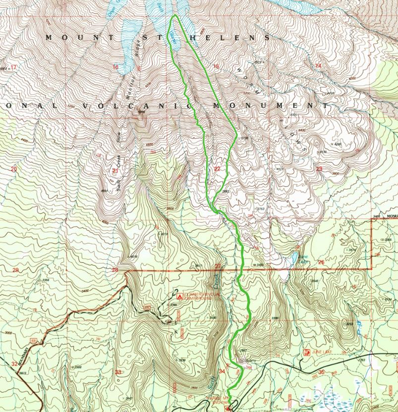 Map of our Mt St Helens Snowboard Trip